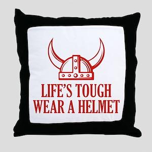 Wear A Helmet Throw Pillow
