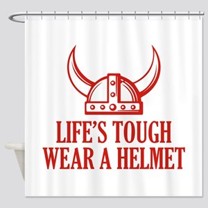 Wear A Helmet Shower Curtain