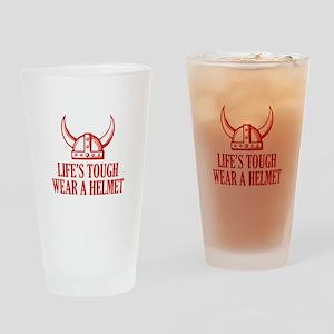 Wear A Helmet Drinking Glass