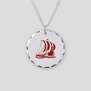 Viking Ship Necklace Circle Charm