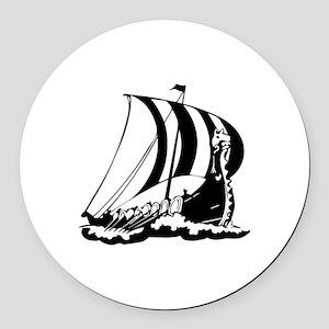 Viking Ship Round Car Magnet