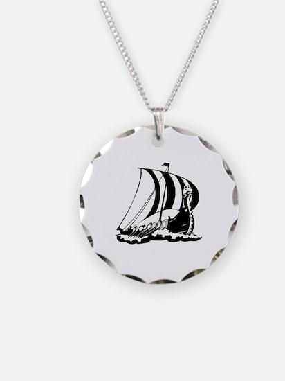 Viking Ship Necklace Circle Charm