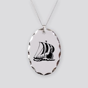 Viking Ship Necklace Oval Charm