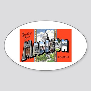 Madison Wisconsin Greetings Oval Sticker