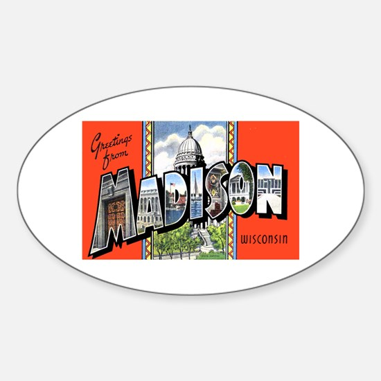 Madison Wisconsin Greetings Oval Decal