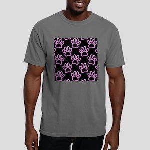 Pink Neon Dog Paw Print Mens Comfort Colors Shirt