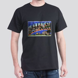 Raleigh North Carolina Greetings (Front) Black T-S