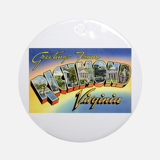 Richmond Virginia Greetings Ornament (Round)