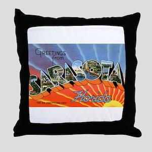 Sarasota Florida Greetings Throw Pillow