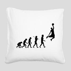 Basketball Evolution Jump Square Canvas Pillow
