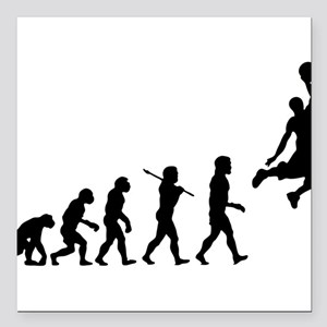 "Basketball Evolution Jump Square Car Magnet 3"" x 3"