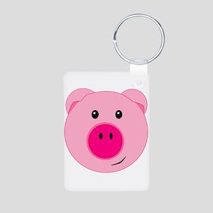 Cute Pink Pig Aluminum Photo Keychain
