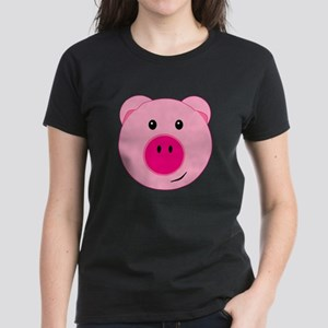 Cute Pink Pig Women's Dark T-Shirt