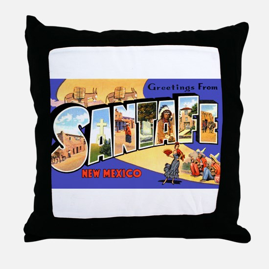 Santa Fe New Mexico Greetings Throw Pillow