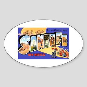 Santa Fe New Mexico Greetings Oval Sticker