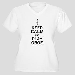 Keep Calm Oboe Women's Plus Size V-Neck T-Shirt