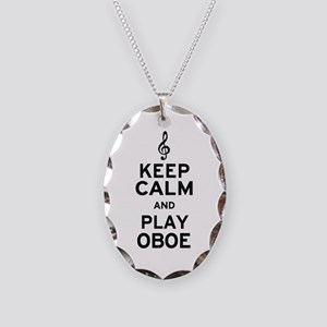 Keep Calm Oboe Necklace Oval Charm