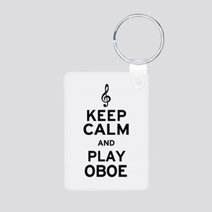 Keep Calm Oboe Aluminum Photo Keychain