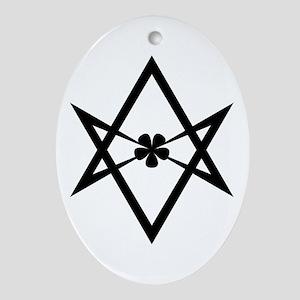 Unicursal hexagram (Black) Ornament (Oval)