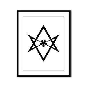 Unicursal hexagram (Black) Framed Panel Print