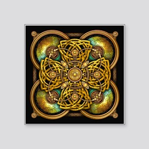 "Yellow Celtic Tapestry Square Sticker 3"" x 3"""