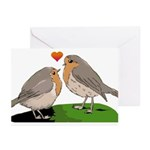 Robin red breast bird love Greeting Cards (Pk of 2
