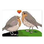 Robin red breast bird love Postcards (Package of 8