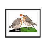 Robin red breast bird love Framed Panel Print