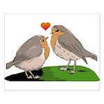 Robin red breast bird love Small Poster