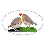 Robin red breast bird love Sticker (Oval 50 pk)