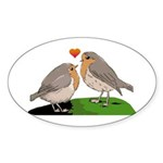 Robin red breast bird love Sticker (Oval 10 pk)