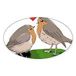 Robin red breast bird love Sticker (Oval)