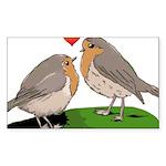 Robin red breast bird love Sticker (Rectangle)