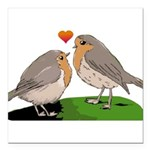 Robin red breast bird love Square Car Magnet 3