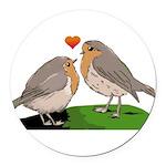 Robin red breast bird love Round Car Magnet
