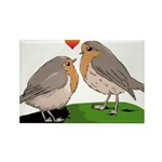 Robin red breast bird love Rectangle Magnet (100 p