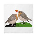 Robin red breast bird love Queen Duvet