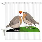Robin red breast bird love Shower Curtain