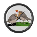 Robin red breast bird love Large Wall Clock