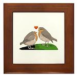 Robin red breast bird love Framed Tile
