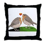 Robin red breast bird love Throw Pillow