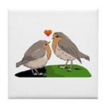 Robin red breast bird love Tile Coaster