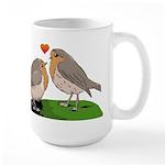 Robin red breast bird love Large Mug