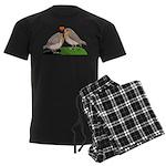 Robin red breast bird love Men's Dark Pajamas