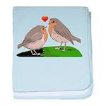 Robin red breast bird love baby blanket