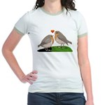 Robin red breast bird love Jr. Ringer T-Shirt