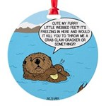 Mad Sea Otter Round Ornament