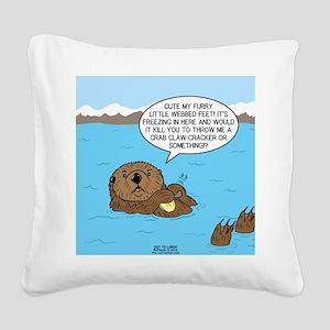 Mad Sea Otter Square Canvas Pillow