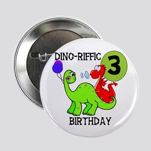 Dinosaur 3rd Birthday Button