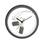Support Our Troops Dog Tags Wall Clock